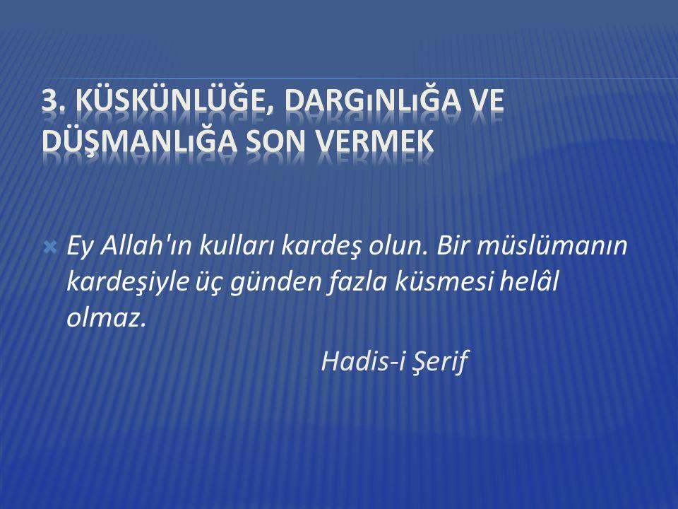  Ey Allah'ın kulları kardeş olun. Bir müslümanın kardeşiyle üç günden fazla küsmesi helâl olmaz. Hadis-i Şerif