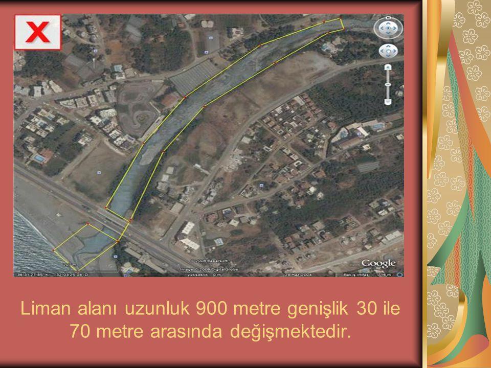Liman alanı uzunluk 900 metre genişlik 30 ile 70 metre arasında değişmektedir.
