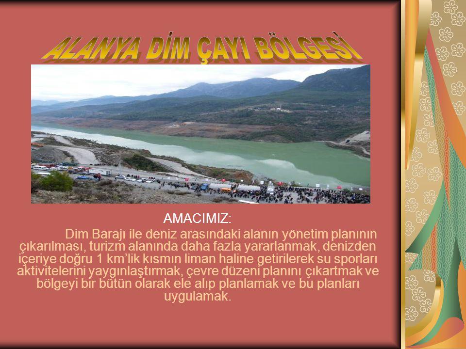 AMACIMIZ: Dim Barajı ile deniz arasındaki alanın yönetim planının çıkarılması, turizm alanında daha fazla yararlanmak, denizden içeriye doğru 1 km'lik kısmın liman haline getirilerek su sporları aktivitelerini yaygınlaştırmak, çevre düzeni planını çıkartmak ve bölgeyi bir bütün olarak ele alıp planlamak ve bu planları uygulamak.