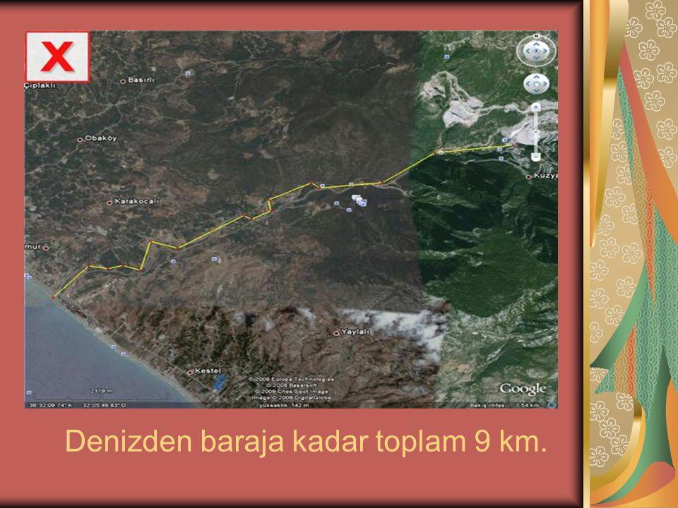 Denizden baraja kadar toplam 9 km.