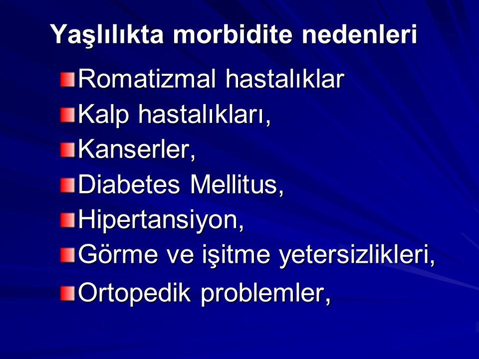 Yaşlılıkta morbidite nedenleri Romatizmal hastalıklar Kalp hastalıkları, Kanserler, Diabetes Mellitus, Hipertansiyon, Görme ve işitme yetersizlikleri,