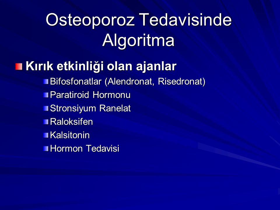 Osteoporoz Tedavisinde Algoritma Kırık etkinliği olan ajanlar Bifosfonatlar (Alendronat, Risedronat) Paratiroid Hormonu Stronsiyum Ranelat RaloksifenK
