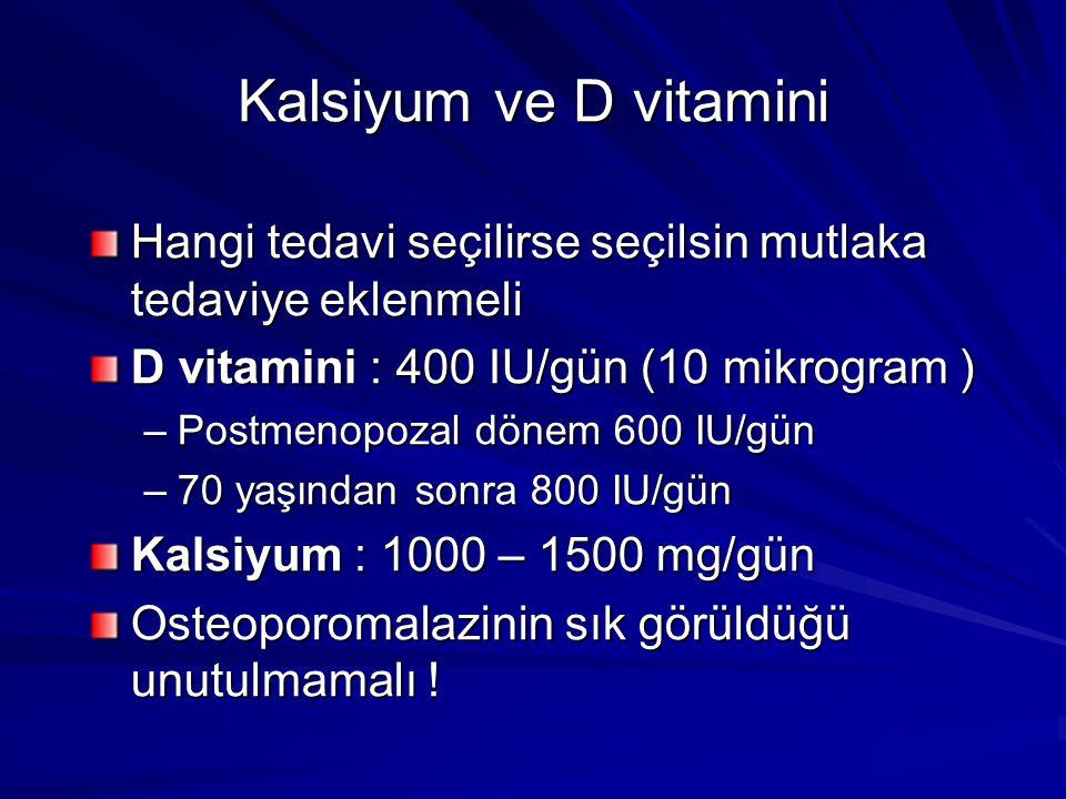 Kalsiyum ve D vitamini Hangi tedavi seçilirse seçilsin mutlaka tedaviye eklenmeli D vitamini : 400 IU/gün (10 mikrogram ) –Postmenopozal dönem 600 IU/