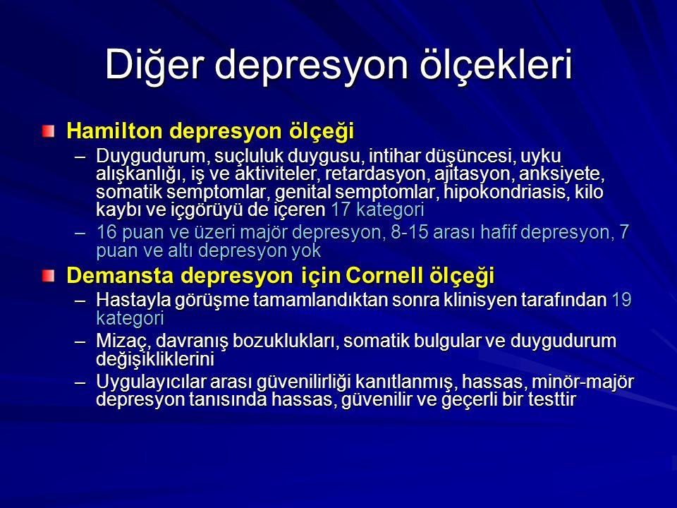 Diğer depresyon ölçekleri Hamilton depresyon ölçeği –Duygudurum, suçluluk duygusu, intihar düşüncesi, uyku alışkanlığı, iş ve aktiviteler, retardasyon