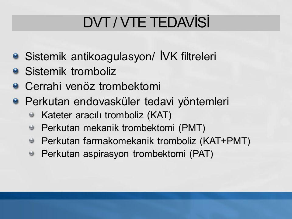 Sistemik Antikoagulan Tedavi DVT-VTE konvansiyonel tedavi UFH veya DMAH 3 - 6 ay Warfarin Antikoagulan tedavi trombus yayılımını önler DVT ve VTE rekürrens önler PE önler trombolitik etkisi yok, trombusu ortadan kaldırmaz Antikoagulan tedavi: rekanalizasyon oranı¹ popliteal ve krural ven trombozu %95 İliofemoral-popliteal ven trombozu %20 1.