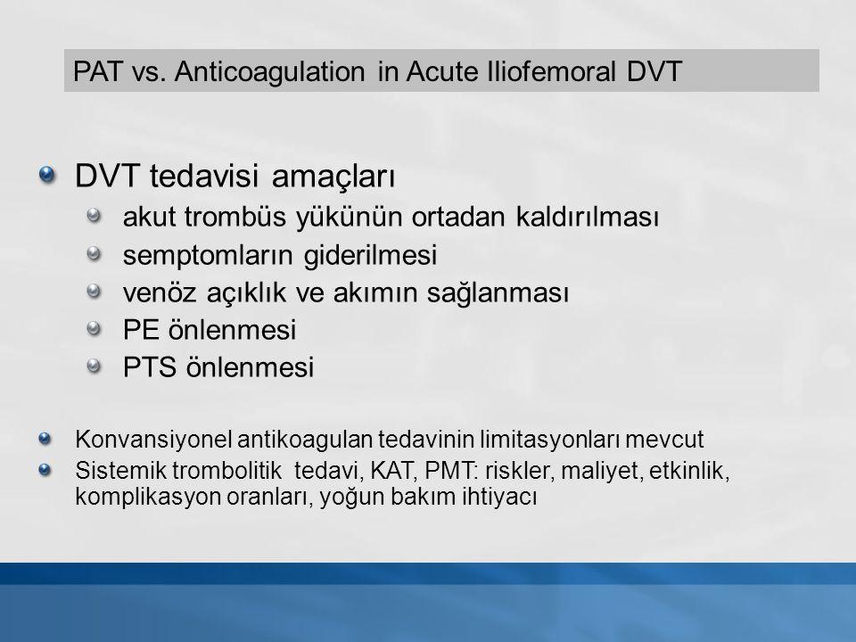 DVT tedavisi amaçları akut trombüs yükünün ortadan kaldırılması semptomların giderilmesi venöz açıklık ve akımın sağlanması PE önlenmesi PTS önlenmesi