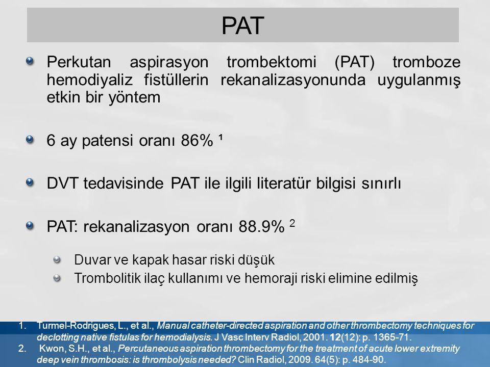 Perkutan aspirasyon trombektomi (PAT) tromboze hemodiyaliz fistüllerin rekanalizasyonunda uygulanmış etkin bir yöntem 6 ay patensi oranı 86% ¹ DVT ted