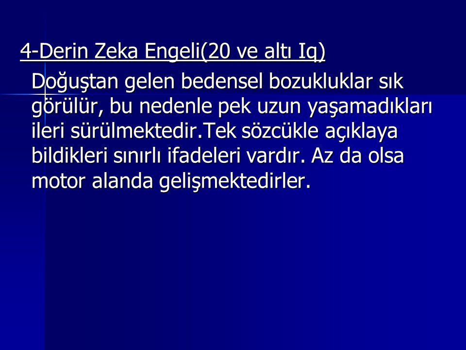 4-Derin Zeka Engeli(20 ve altı Iq) 4-Derin Zeka Engeli(20 ve altı Iq) Doğuştan gelen bedensel bozukluklar sık görülür, bu nedenle pek uzun yaşamadıkları ileri sürülmektedir.Tek sözcükle açıklaya bildikleri sınırlı ifadeleri vardır.