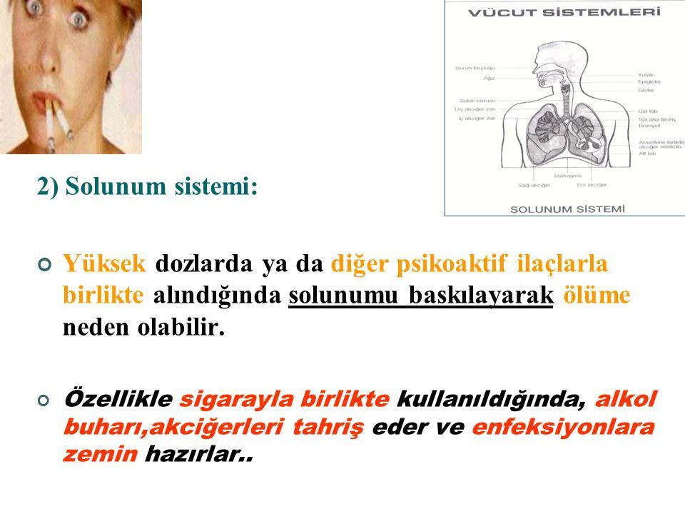 ALKOLÜN ETKİLERİ Alkolün doza bağlı olarak farklı etkileri vardır. 1) Sinir sistemi: Düşük dozlarda inme önleyici etkisi varken, Yüksek dozda Beyin ka
