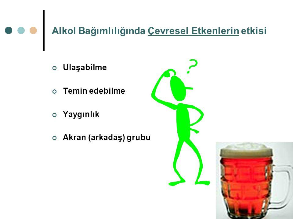 Alkol Bağımlılığında Kişisel Özelliklerin etkisi; Bağımlılık için özel bir kişilik tipi belirlenmemiştir. Kullanan herkes için bağımlılık riski eşitti