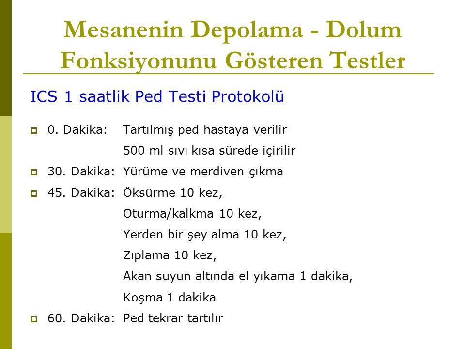 Mesanenin Depolama - Dolum Fonksiyonunu Gösteren Testler ICS 1 saatlik Ped Testi Protokolü  0. Dakika: Tartılmış ped hastaya verilir 500 ml sıvı kısa