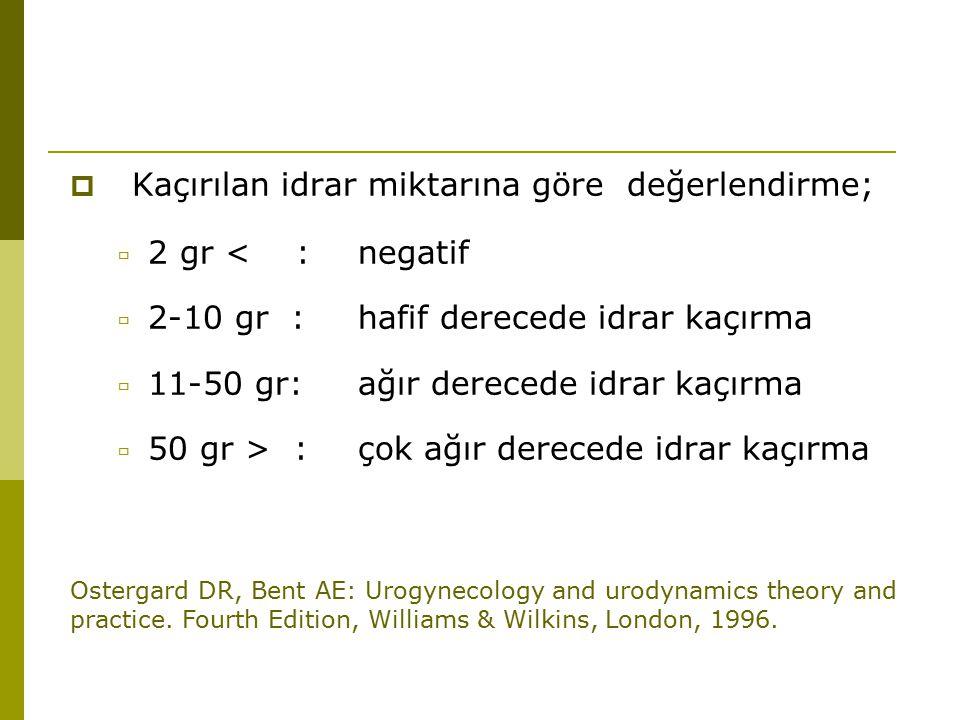  Kaçırılan idrar miktarına göre değerlendirme;  2 gr < :negatif  2-10 gr :hafif derecede idrar kaçırma  11-50 gr:ağır derecede idrar kaçırma  50 gr > :çok ağır derecede idrar kaçırma Ostergard DR, Bent AE: Urogynecology and urodynamics theory and practice.