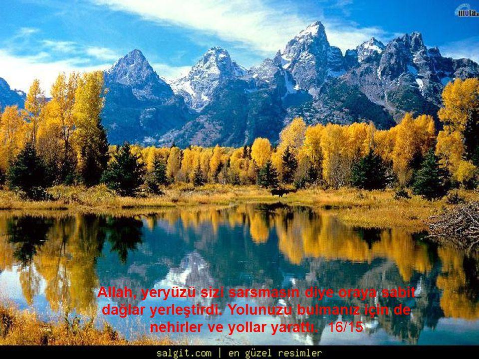 Allah, yeryüzü sizi sarsmasın diye oraya sabit dağlar yerleştirdi. Yolunuzu bulmanız için de nehirler ve yollar yarattı. 16/15
