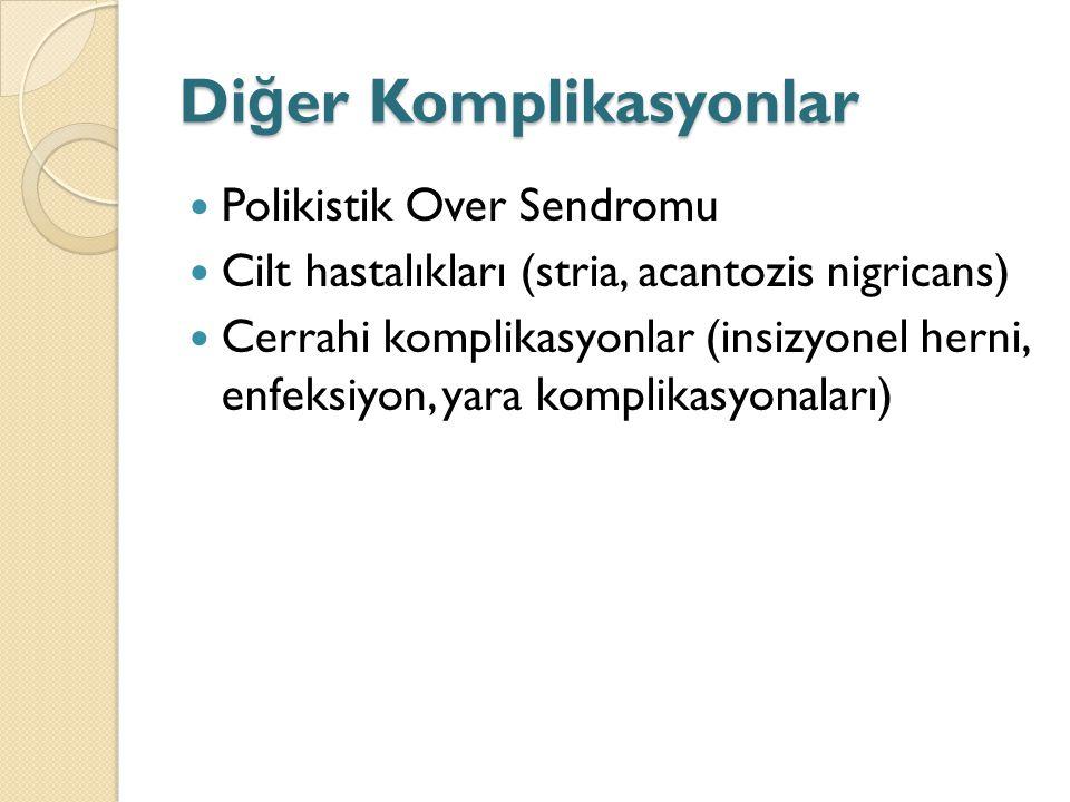 Di ğ er Komplikasyonlar Polikistik Over Sendromu Cilt hastalıkları (stria, acantozis nigricans) Cerrahi komplikasyonlar (insizyonel herni, enfeksiyon, yara komplikasyonaları)