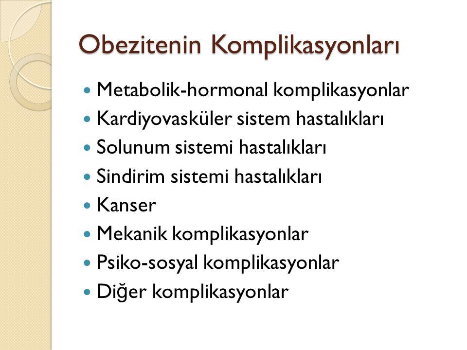 Obezitenin Komplikasyonları Metabolik-hormonal komplikasyonlar Kardiyovasküler sistem hastalıkları Solunum sistemi hastalıkları Sindirim sistemi hastalıkları Kanser Mekanik komplikasyonlar Psiko-sosyal komplikasyonlar Di ğ er komplikasyonlar