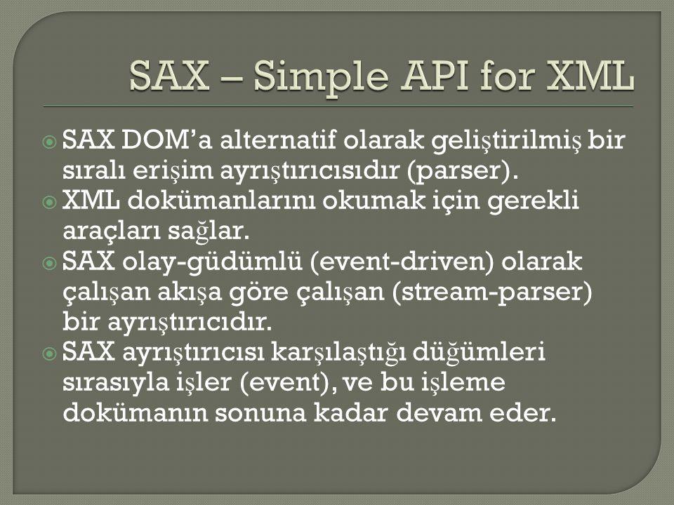  SAX DOM'a alternatif olarak geli ş tirilmi ş bir sıralı eri ş im ayrı ş tırıcısıdır (parser).