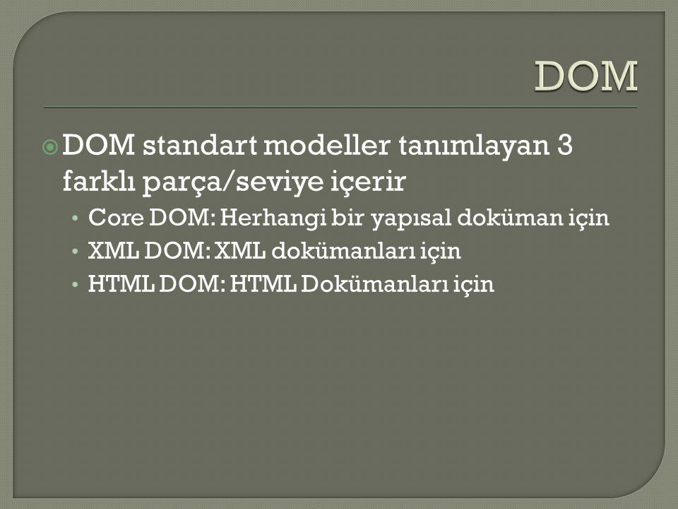  XML için standart bir nesne modeli Standart bir programlama arayüzü Platform ve dilden ba ğ ımsız  XML DOM bütün XML elementleri için nesne ve özellikleri ve bunlara eri ş im için gerekli metodları (arayüzler) tanımlar  Di ğ er bir deyi ş le DOM, XML elementlerine eri ş im, de ğ i ş tirme, ekleme, silme gibi i ş lemler için bir standart sa ğ lar.