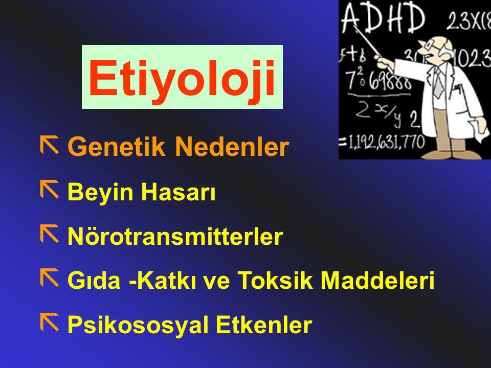 Etiyoloji ã Genetik Nedenler ã Beyin Hasarı ã Nörotransmitterler ã Gıda -Katkı ve Toksik Maddeleri ã Psikososyal Etkenler