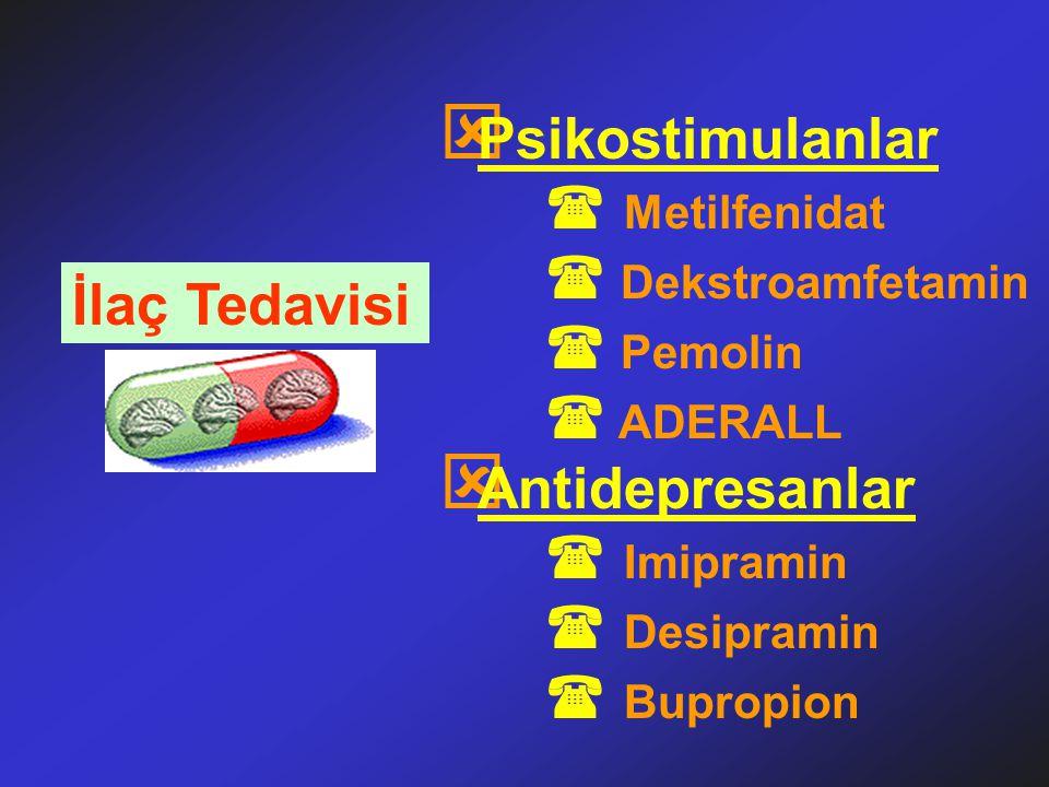 İlaç Tedavisi ý Psikostimulanlar  Metilfenidat  Dekstroamfetamin  Pemolin  ADERALL ý Antidepresanlar  Imipramin  Desipramin  Bupropion