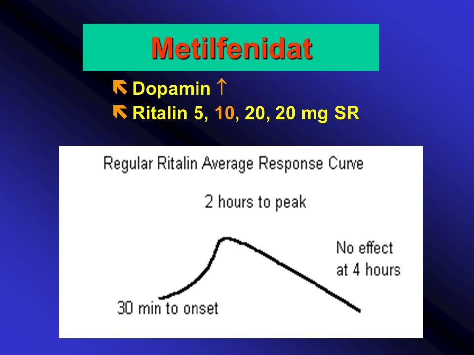 ë Dopamin  ë Ritalin 5, 10, 20, 20 mg SRMetilfenidat