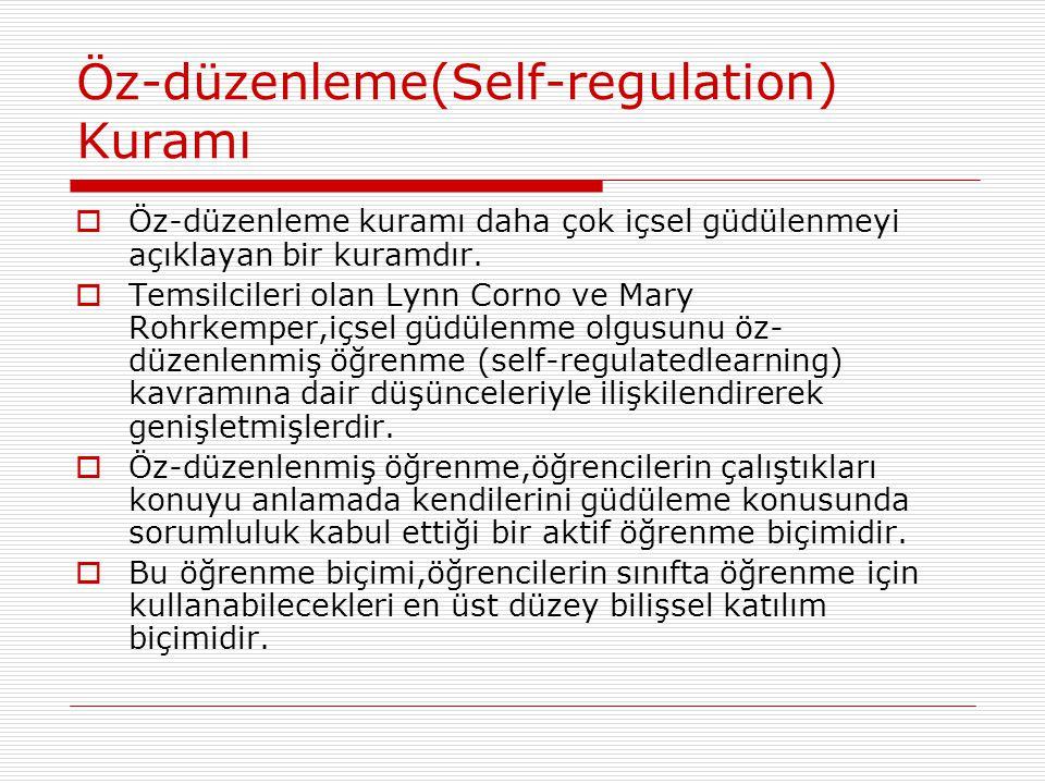 Öz-düzenleme(Self-regulation) Kuramı  Öz-düzenleme kuramı daha çok içsel güdülenmeyi açıklayan bir kuramdır.  Temsilcileri olan Lynn Corno ve Mary R