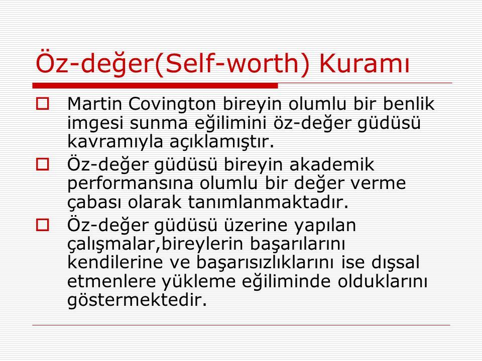 Öz-değer(Self-worth) Kuramı  Martin Covington bireyin olumlu bir benlik imgesi sunma eğilimini öz-değer güdüsü kavramıyla açıklamıştır.  Öz-değer gü