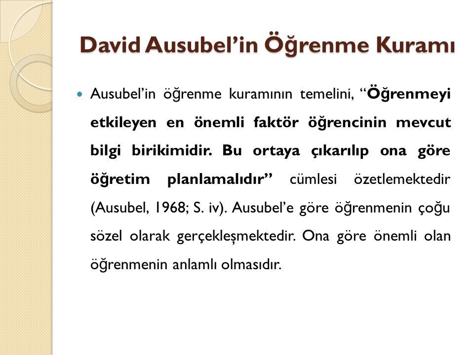 David Ausubel'in Ö ğ renme Kuramı Ausubel'in ö ğ renme kuramının temelini, Ö ğ renmeyi etkileyen en önemli faktör ö ğ rencinin mevcut bilgi birikimidir.