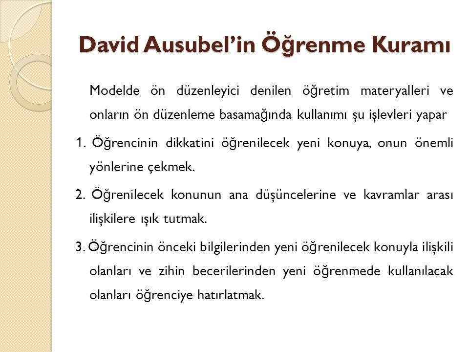 David Ausubel'in Ö ğ renme Kuramı Modelde ön düzenleyici denilen ö ğ retim materyalleri ve onların ön düzenleme basama ğ ında kullanımı şu işlevleri yapar 1.