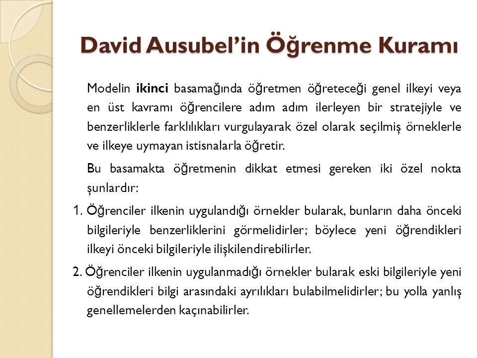 David Ausubel'in Ö ğ renme Kuramı Modelin ikinci basama ğ ında ö ğ retmen ö ğ retece ğ i genel ilkeyi veya en üst kavramı ö ğ rencilere adım adım ilerleyen bir stratejiyle ve benzerliklerle farklılıkları vurgulayarak özel olarak seçilmiş örneklerle ve ilkeye uymayan istisnalarla ö ğ retir.