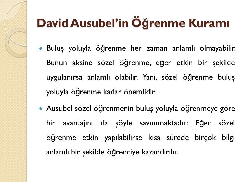 David Ausubel'in Ö ğ renme Kuramı Buluş yoluyla ö ğ renme her zaman anlamlı olmayabilir.
