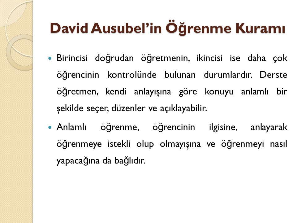 David Ausubel'in Ö ğ renme Kuramı Birincisi do ğ rudan ö ğ retmenin, ikincisi ise daha çok ö ğ rencinin kontrolünde bulunan durumlardır.