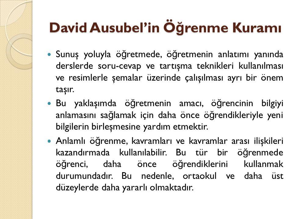 David Ausubel'in Ö ğ renme Kuramı Bilgilerin ö ğ rencilere anlatılarak anlamlı ö ğ renmenin gerçekleştirilmesinde şu hususlara uyulması beklenir: 1.