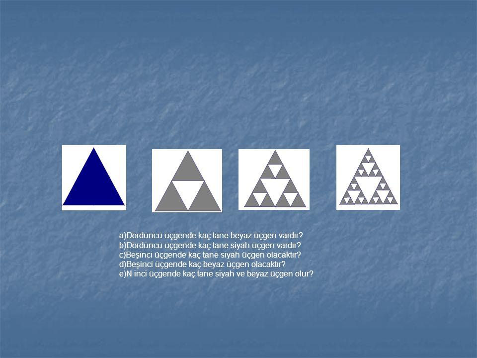 a)Dördüncü üçgende kaç tane beyaz üçgen vardır? b)Dördüncü üçgende kaç tane siyah üçgen vardır? c)Beşinci üçgende kaç tane siyah üçgen olacaktır? d)Be