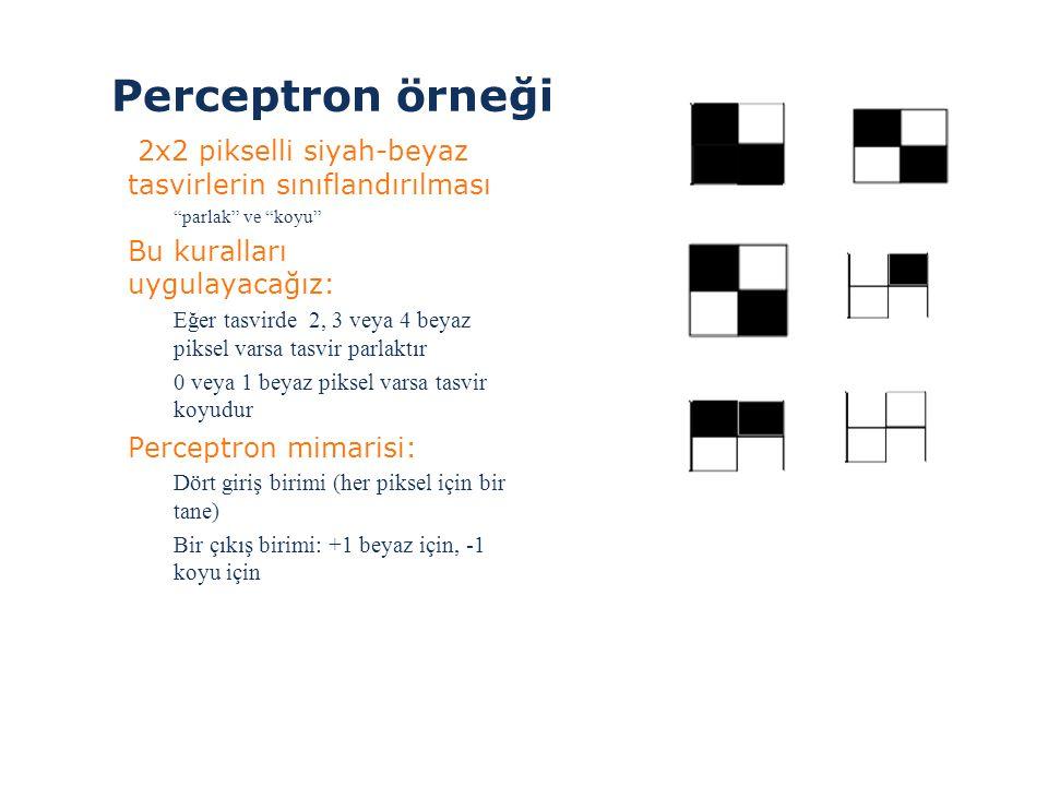 """Perceptron örneği > 2x2 pikselli siyah-beyaz tasvirlerin sınıflandırılması """"parlak"""" ve """"koyu"""" >Bu kuralları uygulayacağız: Eğer tasvirde 2, 3 veya 4 b"""