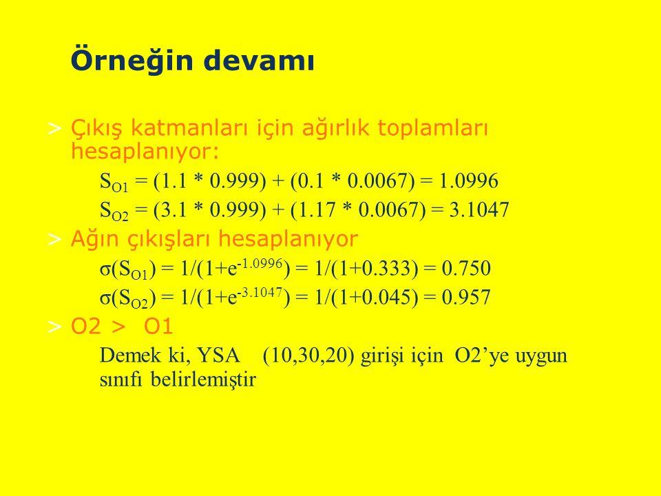Örneğin devamı >Çıkış katmanları için ağırlık toplamları hesaplanıyor: S O1 = (1.1 * 0.999) + (0.1 * 0.0067) = 1.0996 S O2 = (3.1 * 0.999) + (1.17 * 0