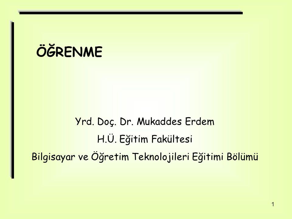 1 ÖĞRENME Yrd. Doç. Dr. Mukaddes Erdem H.Ü. Eğitim Fakültesi Bilgisayar ve Öğretim Teknolojileri Eğitimi Bölümü