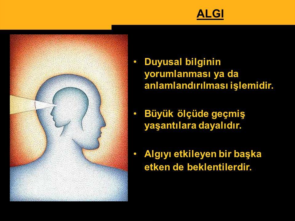 www.ismailbilgin.com 13 ALGI Duyusal bilginin yorumlanması ya da anlamlandırılması işlemidir. Büyük ölçüde geçmiş yaşantılara dayalıdır. Algıyı etkile