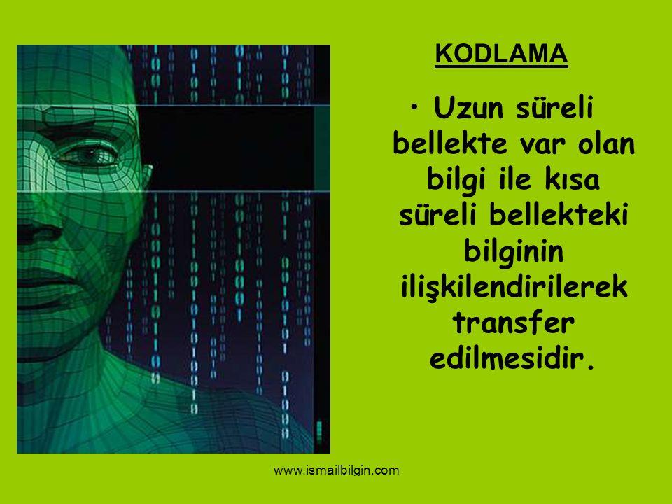 www.ismailbilgin.com 15 KODLAMA Uzun süreli bellekte var olan bilgi ile kısa süreli bellekteki bilginin ilişkilendirilerek transfer edilmesidir.