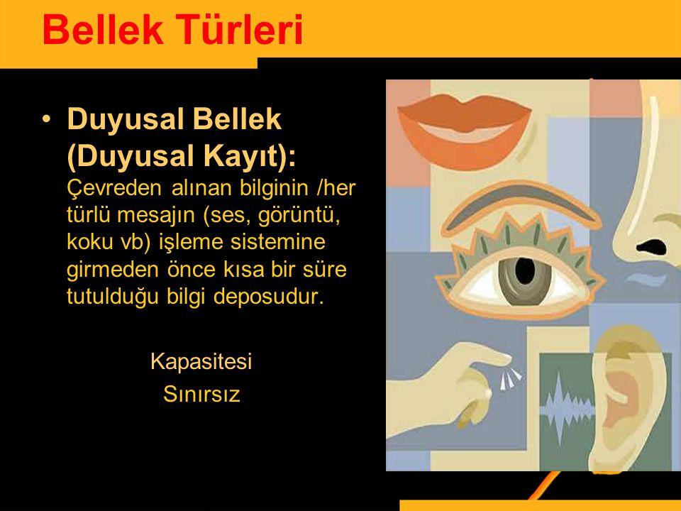 www.ismailbilgin.com Bellek Türleri Duyusal Bellek (Duyusal Kayıt): Çevreden alınan bilginin /her türlü mesajın (ses, görüntü, koku vb) işleme sistemi