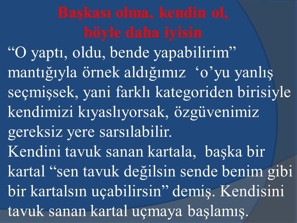 O yaptı, oldu, bende yapabilirim Biz Türkler bir işi başarabileceğimize kendimizi nasıl inandırırız? Örnekleri izleyerek, bir tanıdığımız bir işi başa