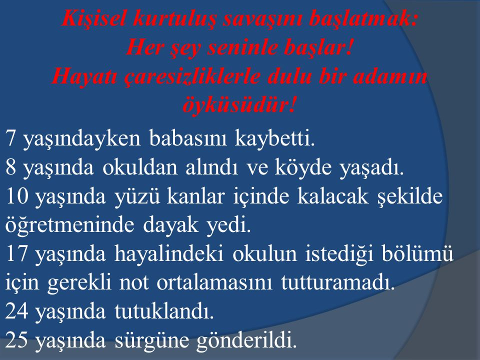 Öyküsü anlatılan kişi Adnan Kahveci. Zeki, mütevazı ve idealist bir şekilde başarılı olmanın örneği olan eski bakan.
