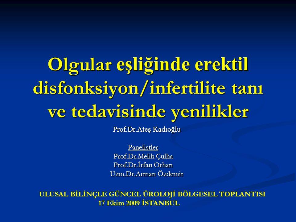 Olgular eşliğinde erektil disfonksiyon/infertilite tanı ve tedavisinde yenilikler Prof.Dr.Ateş Kadıoğlu Prof.Dr.Ateş KadıoğluPanelistler Prof.Dr.Melih