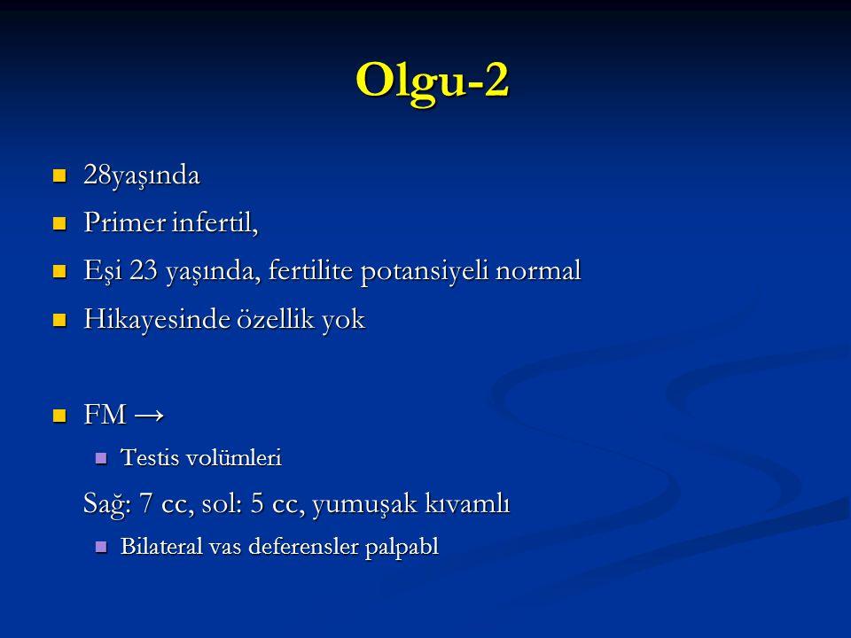 Olgu-2 Olgu-2 28yaşında 28yaşında Primer infertil, Primer infertil, Eşi 23 yaşında, fertilite potansiyeli normal Eşi 23 yaşında, fertilite potansiyeli
