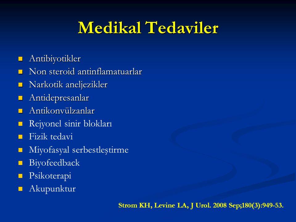 Medikal Tedaviler Antibiyotikler Antibiyotikler Non steroid antinflamatuarlar Non steroid antinflamatuarlar Narkotik aneljezikler Narkotik aneljezikle