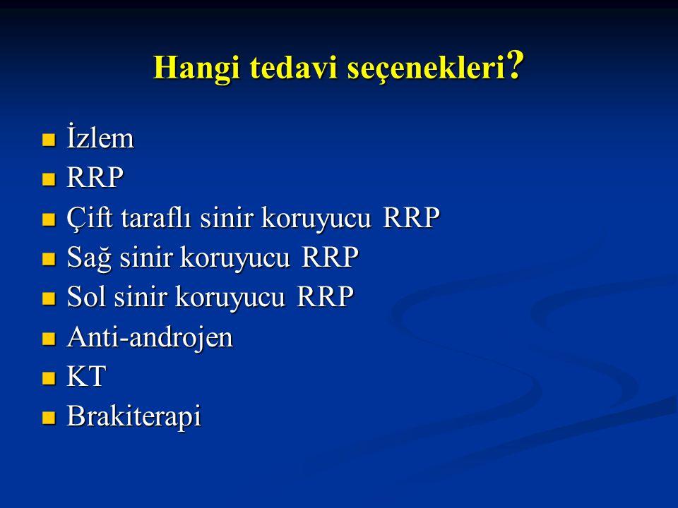 Hangi tedavi seçenekleri ? İzlem İzlem RRP RRP Çift taraflı sinir koruyucu RRP Çift taraflı sinir koruyucu RRP Sağ sinir koruyucu RRP Sağ sinir koruyu