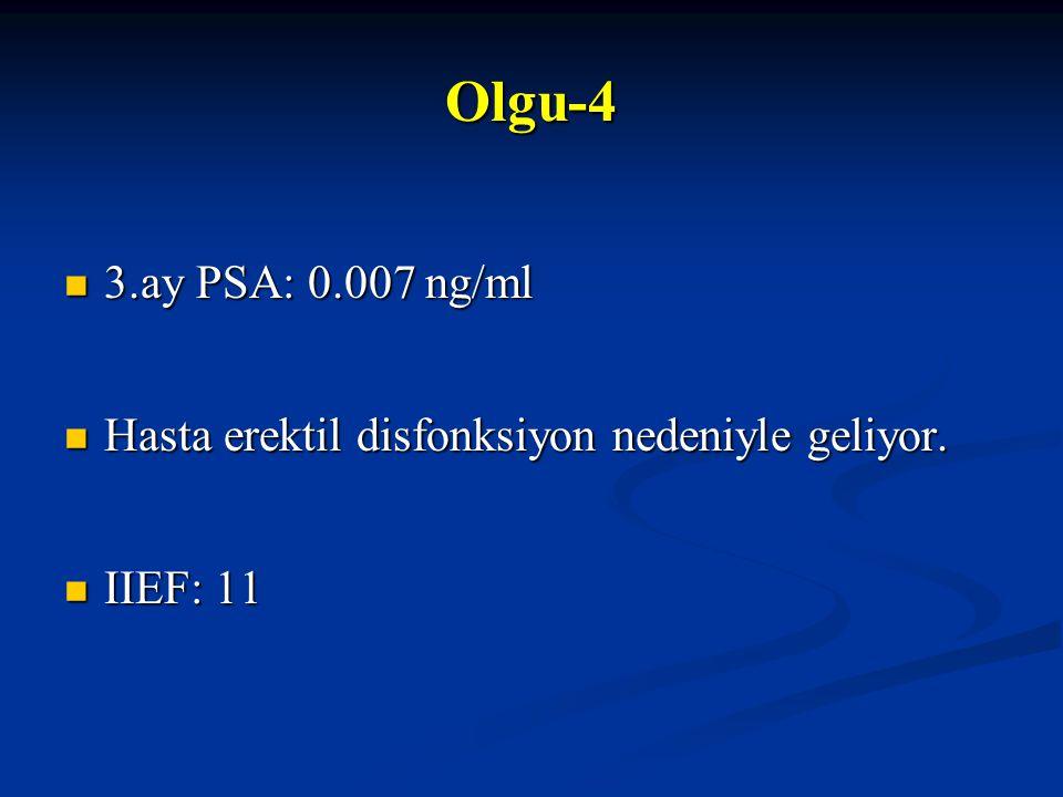 3.ay PSA: 0.007 ng/ml 3.ay PSA: 0.007 ng/ml Hasta erektil disfonksiyon nedeniyle geliyor. Hasta erektil disfonksiyon nedeniyle geliyor. IIEF: 11 IIEF: