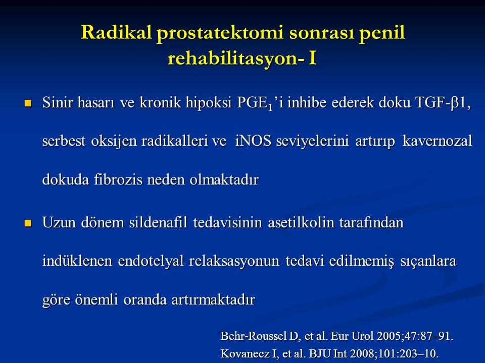 Radikal prostatektomi sonrası penil rehabilitasyon- I Sinir hasarı ve kronik hipoksi PGE 1 'i inhibe ederek doku TGF-  1, serbest oksijen radikalleri