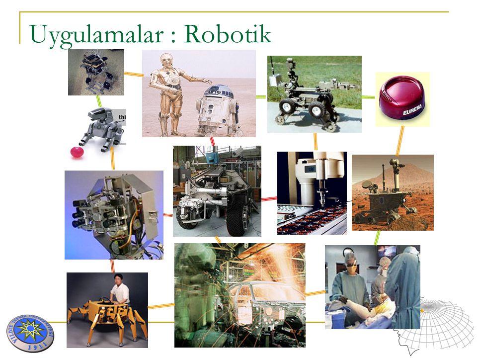 AKILLI SİSTEMLER VE UYGULAMALARI Uygulamalar : Robotik RoboCup Sony - Eğlence robotu QRIO & AIBO