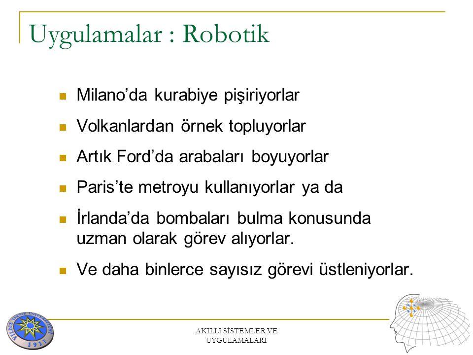AKILLI SİSTEMLER VE UYGULAMALARI Uygulamalar : Robotik