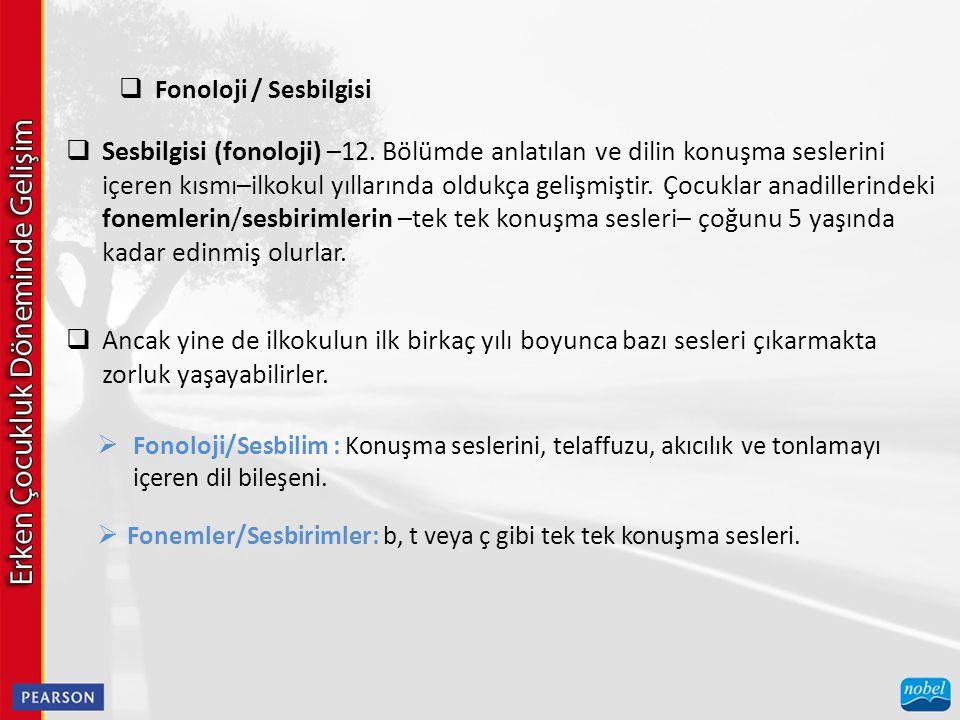  Fonoloji / Sesbilgisi  Sesbilgisi (fonoloji) –12.